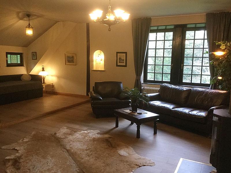Hier Sehen Sie Unser Gemütlich Eingerichtetes Wohnzimmer Mit Kaminofen Und  Einer Bequemen Schlafcouch.